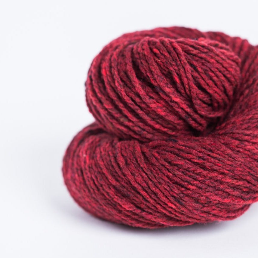 Brooklyn Tweed long john's red 2-ply worsted-weight yarn made with American Targhee-Columbia wool