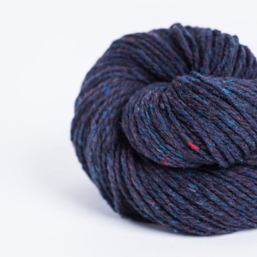 Brooklyn Tweed Old World navy 2-ply worsted-weight yarn made with American Targhee-Columbia wool