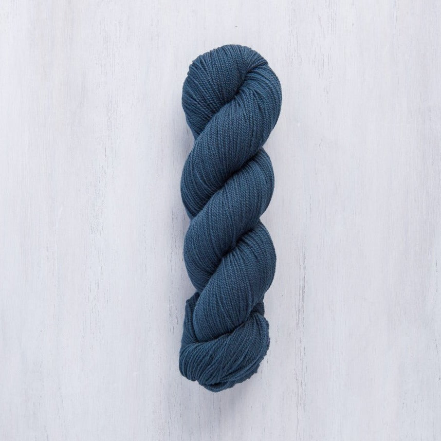 Brooklyn Tweed Vale Sashiko blue lace-weight 2-ply wool yarn made from American Rambouillet wool