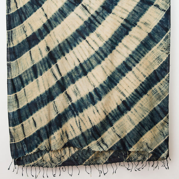 Shibori Silk/Cotton Shawl - Diagonal Stripe