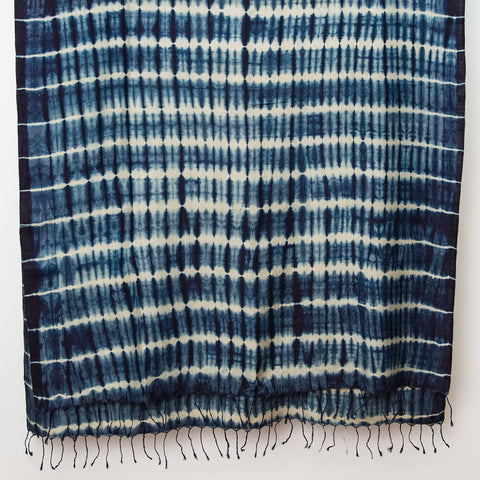 Shibori Silk/Cotton Shawl - Indigo on Natural Stripe