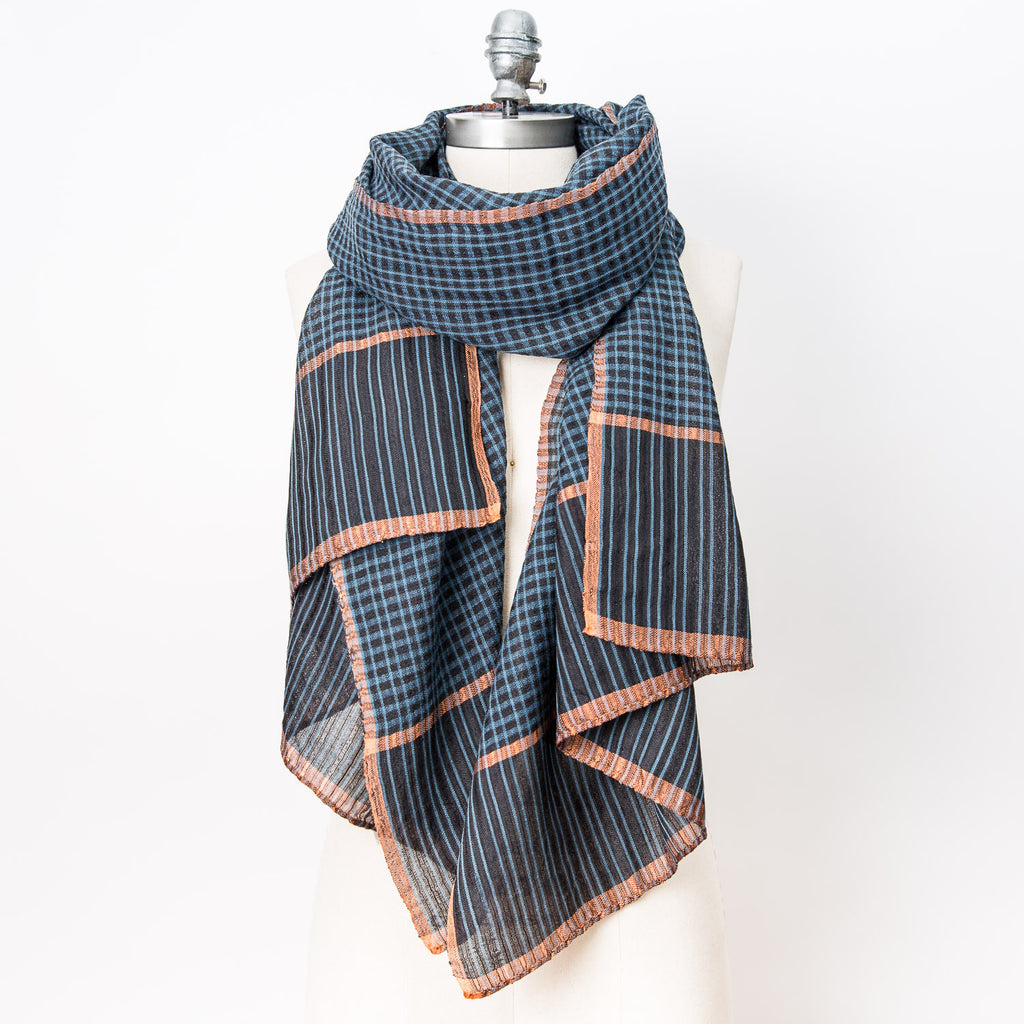 WomenWeave - Wool, Cotton & Silk - Indigo & Rust