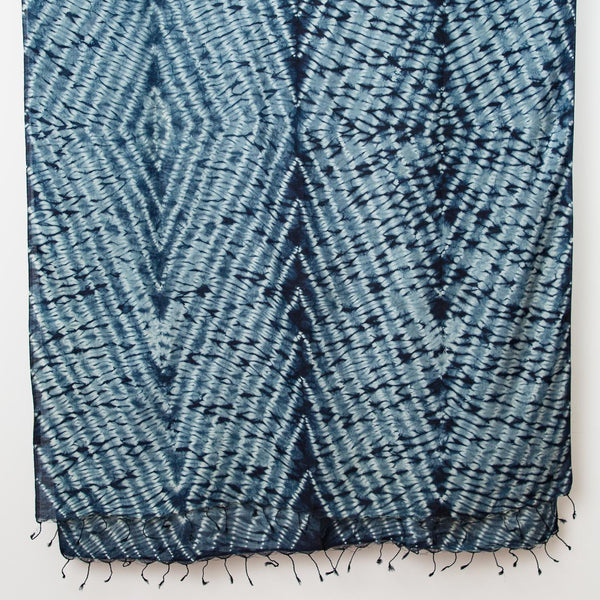 Shibori Silk/Cotton Shawl - Double Diamond