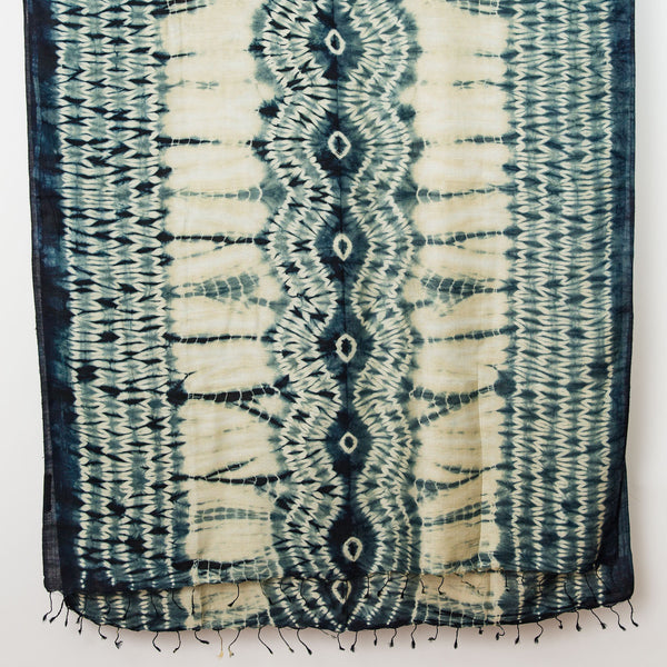 Shibori Silk/Cotton Shawl - Wave Design