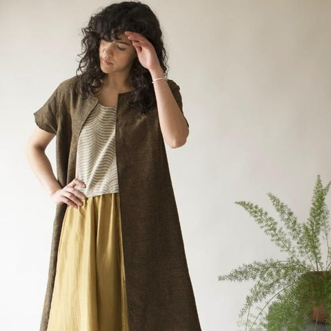 Tulsi Jacket - Naturally Dyed Linen - Dark Sienna