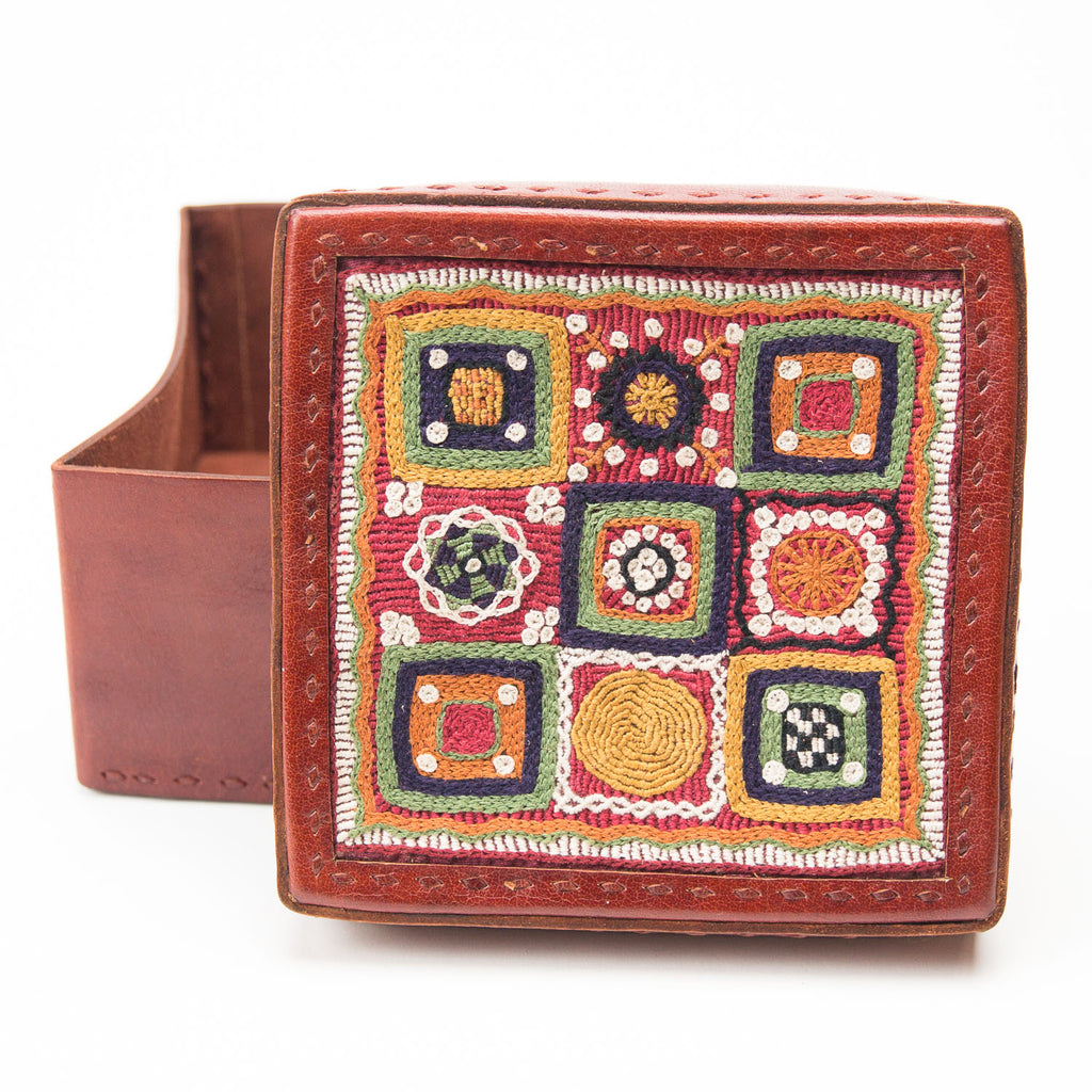 Banjara Embroidery - Red Leather Box - Pattern 4