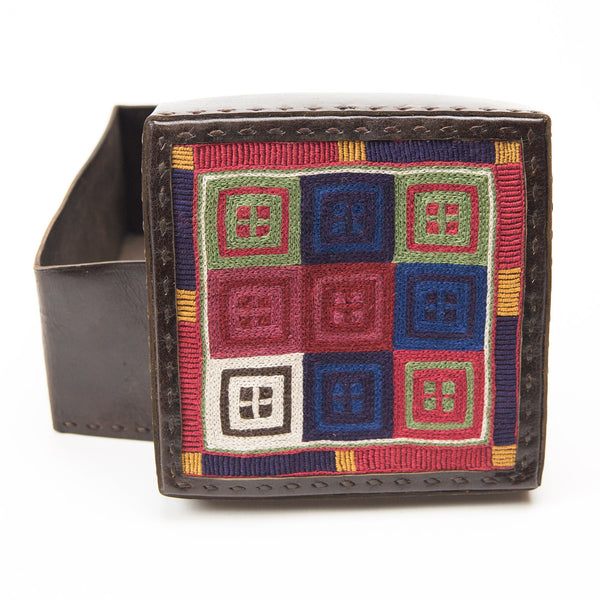 Banjara Embroidery - Brown Leather Box - Pattern 1