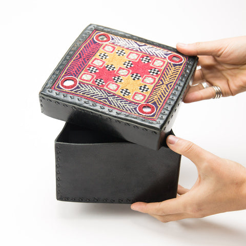 Banjara Embroidery - Black Leather Box - Pattern 4