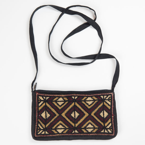 Jat Embroidered Linen Purse - Brown Diamond