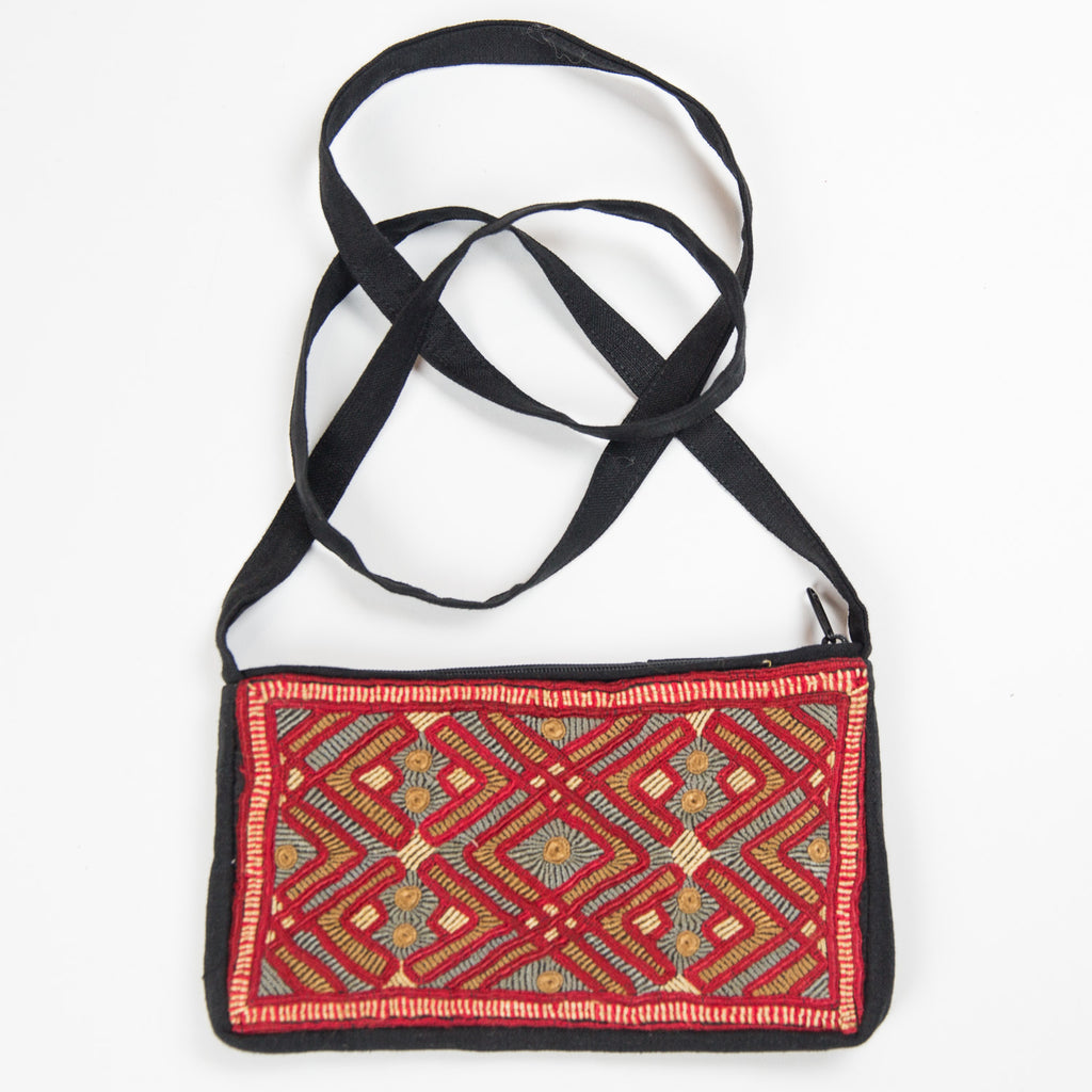 Jat Embroidered Linen Purse - Red Lines