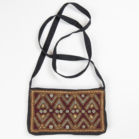 Jat Embroidered Linen Purse - Brown Lines