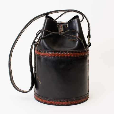 Leather Bucket Bag with Drawstring - Black with Red Stitching