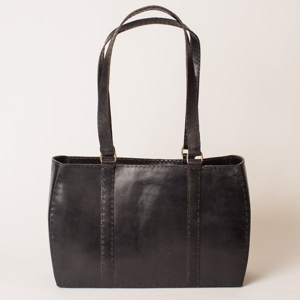 Leather Carrier Bag - Black