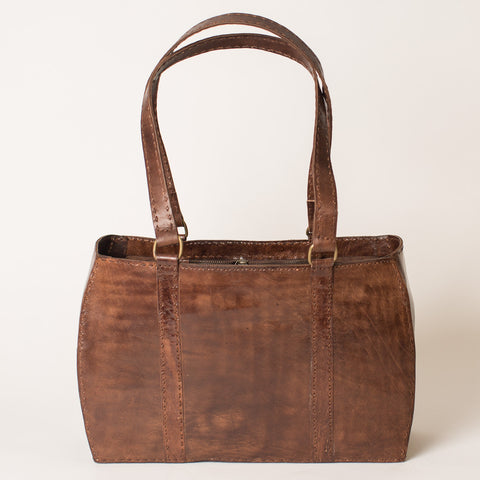 Leather Carrier Bag - Brown
