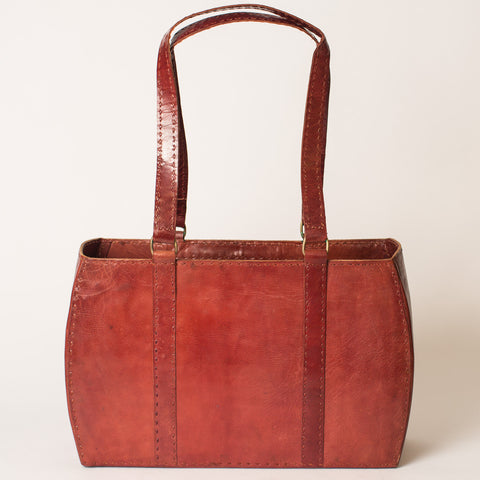 Leather Carrier Bag - Red