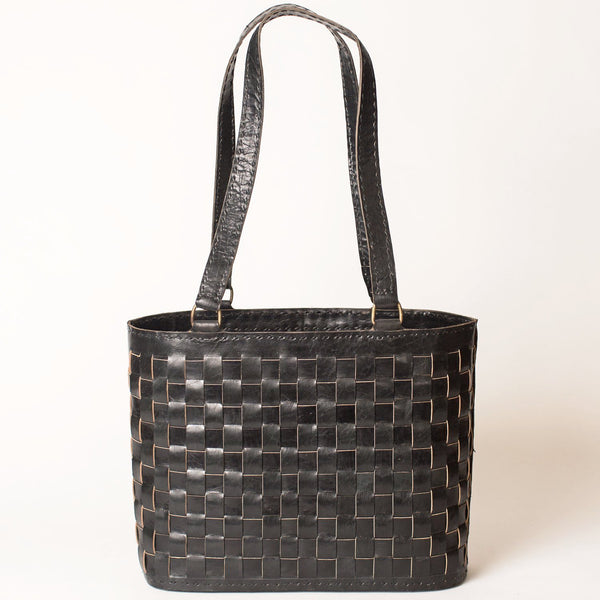 Leather Woven Medium Tote - Black