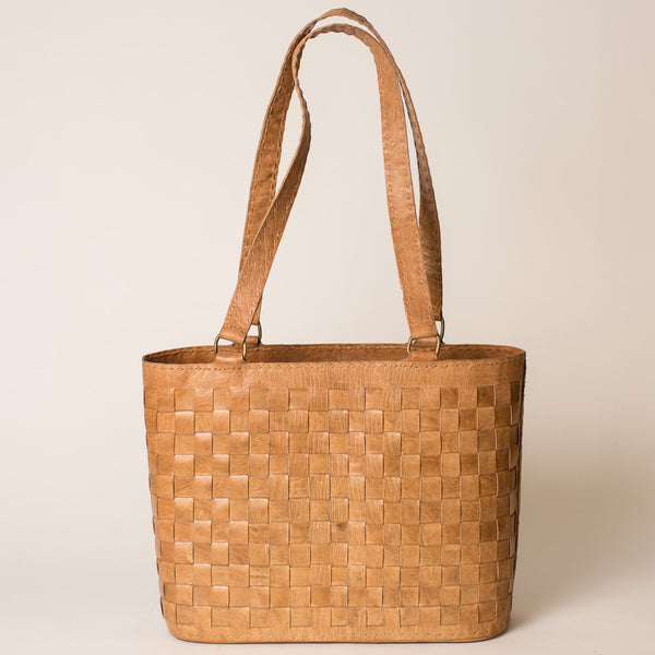 Leather Woven Tote - Tan