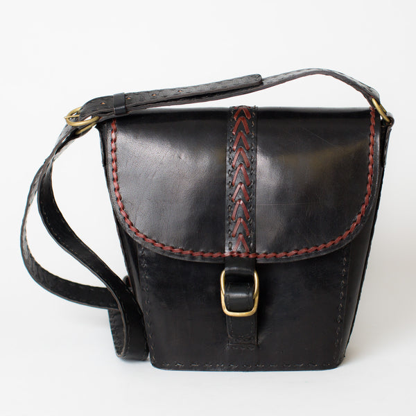 Tapered Shoulder Bag - Black with Red Stitching