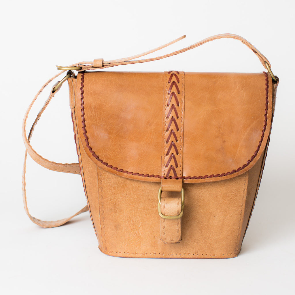 Leather Tapered Shoulder Bag - Tan with Red Stitching
