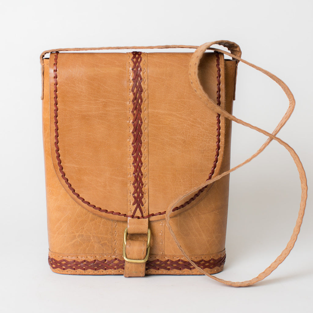 Leather Slim Shoulder Bag - Tan with Red Stitching
