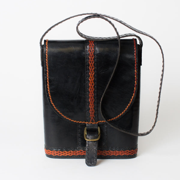 Leather Slim Shoulder Bag - Black with Red Stitching
