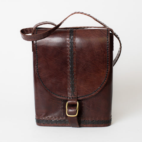 Leather Slim Shoulder Bag - Brown with Black Stitching