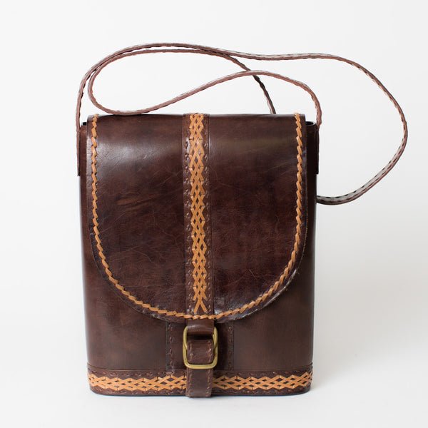Leather Slim Shoulder Bag - Brown with Tan Stitching