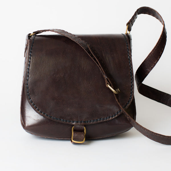 Leather Saddle Bag - Brown with Black Stitching