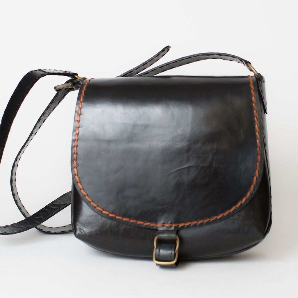 Leather Saddle Bag - Black with Red Stitching
