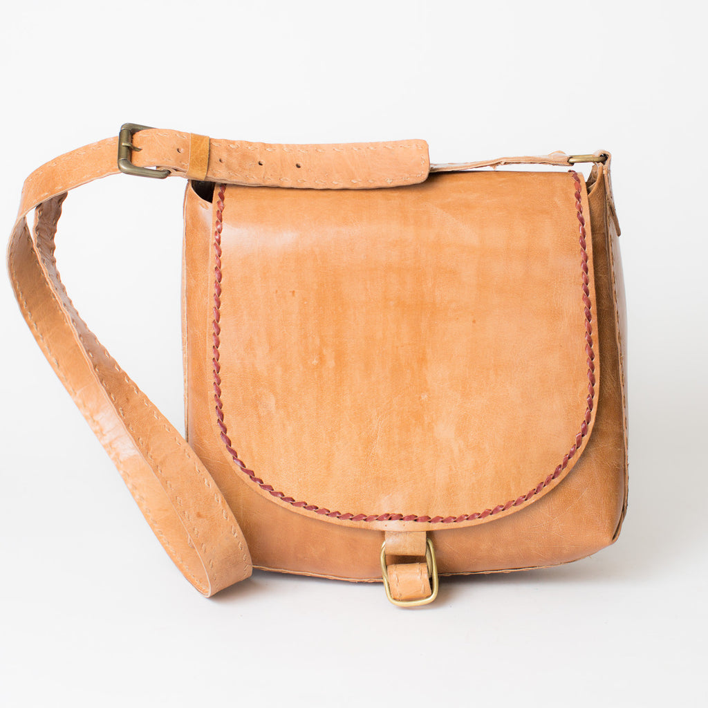 Leather Saddle Bag - Tan with Red Stitching