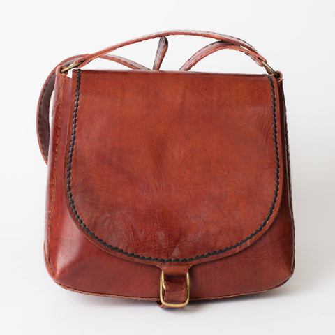 Leather Saddle Bag - Red with Black Stitching