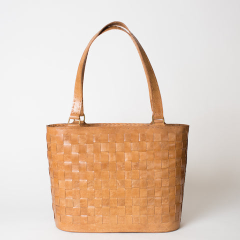 Leather Woven Tote Medium with Zipper - Tan