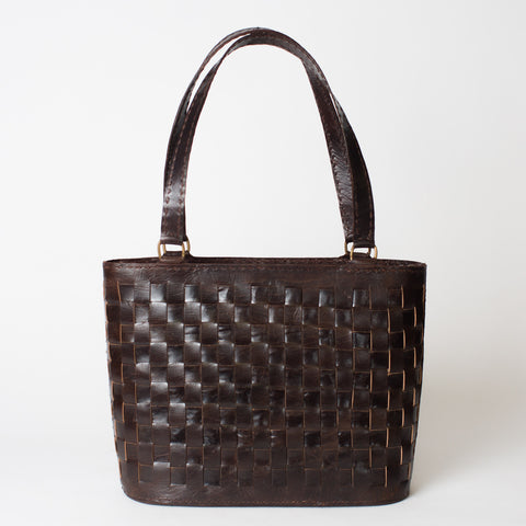 Leather Woven Tote Medium with Zipper - Brown