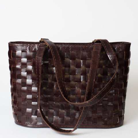 Leather Woven Tote Large with Zipper - Brown