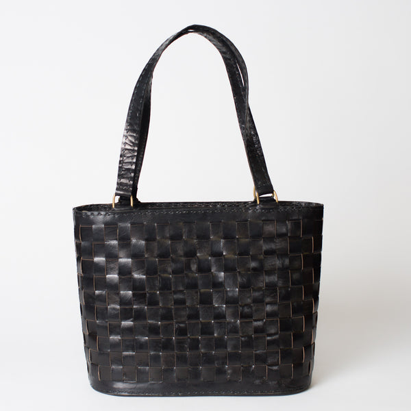 Leather Woven Tote Medium with Zipper - Black