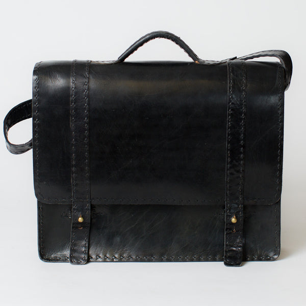 Leather Portfolio Briefcase - Black