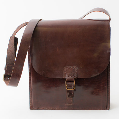 Leather Messenger Bag - Brown