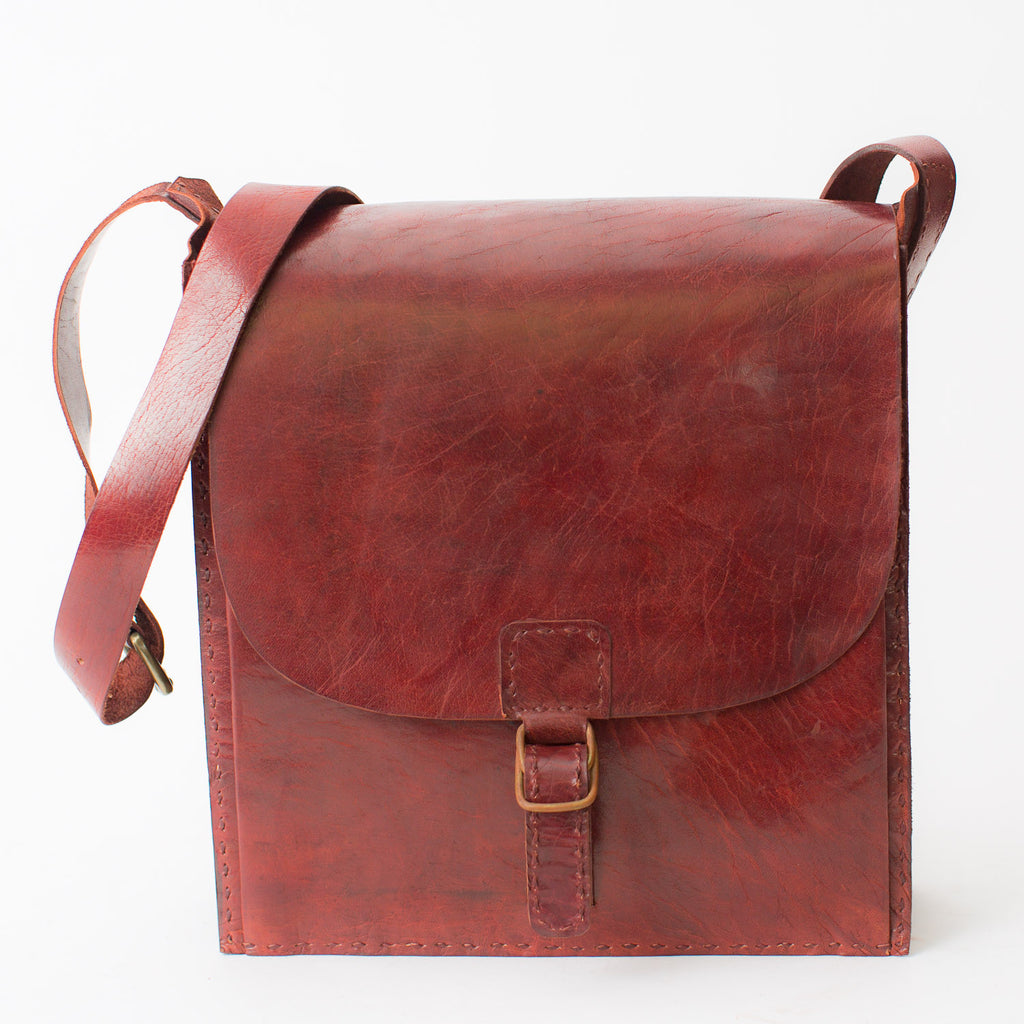 Leather Messenger Bag - Red