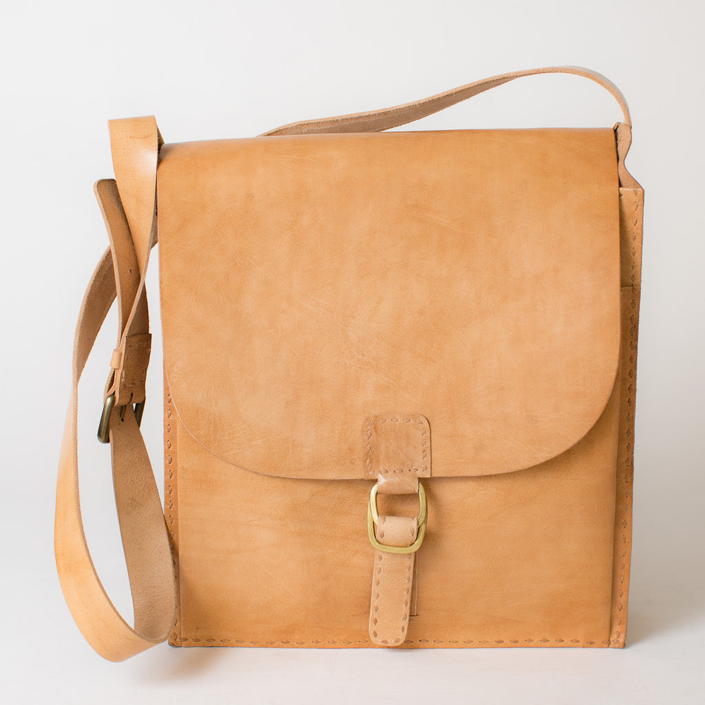 Leather Messenger Bag - Tan