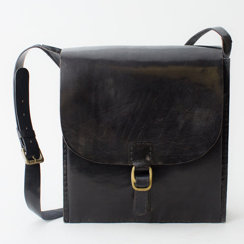 Leather Messenger Bag - Black