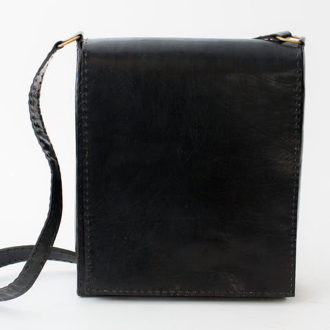 Leather Workday Bag Tall - Black