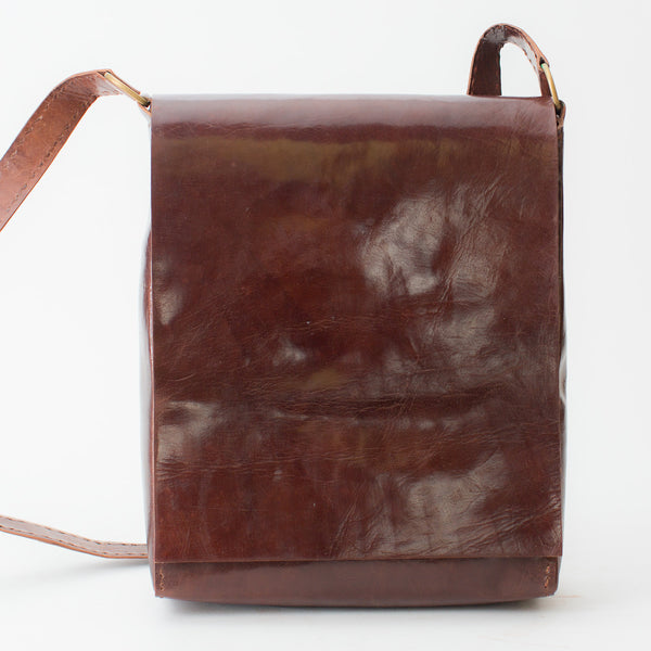 Leather Workday Bag Tall - Brown