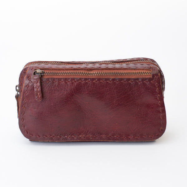 Leather Organizer Pouch - Red