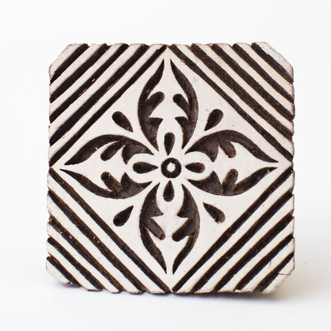 Wood Block - Flower & Diagonal Stripes