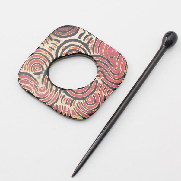 Red Swirl Shawl Pin - Horn