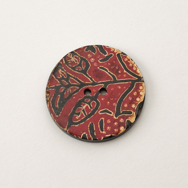 Red Floral Button - Horn