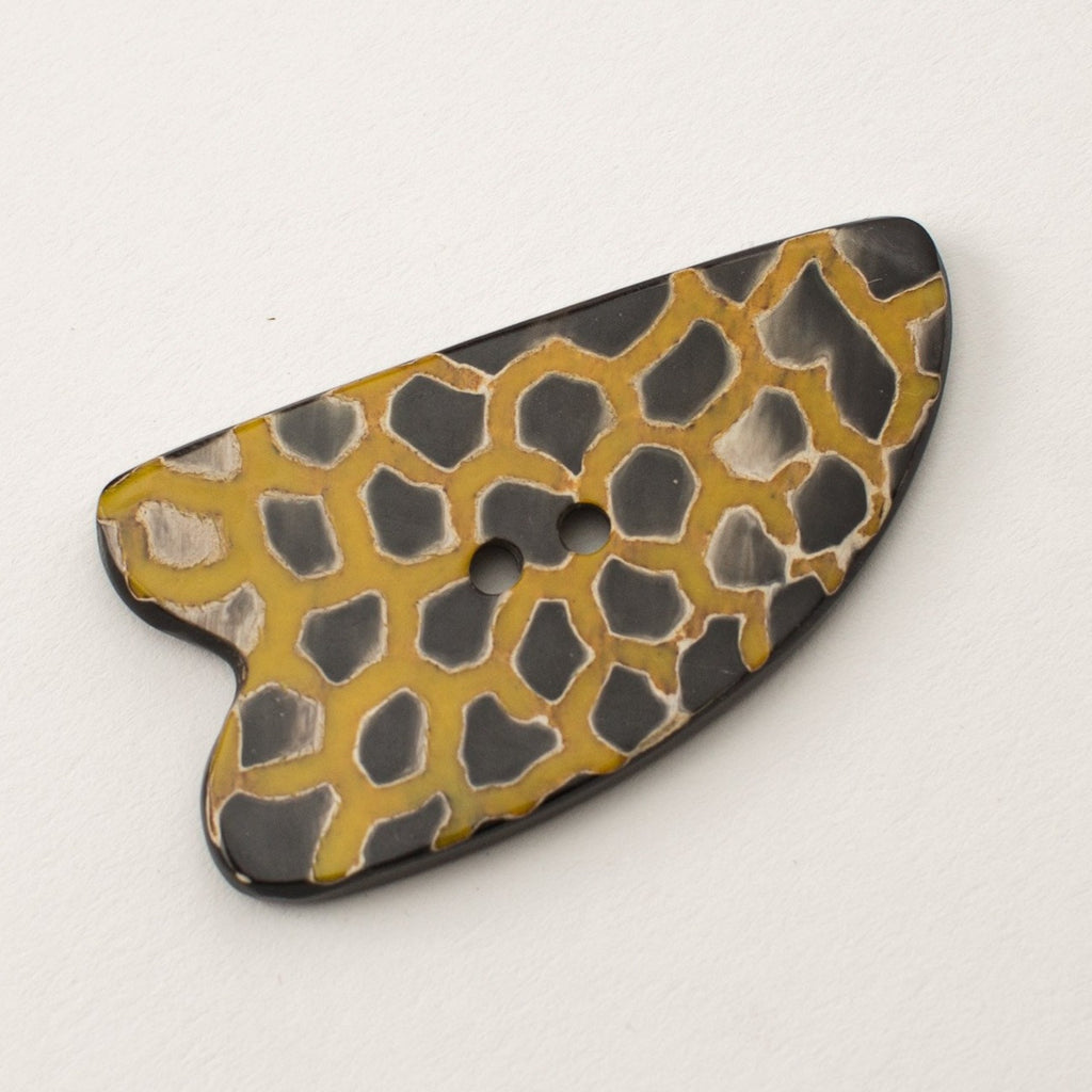 Yellow Leopard Irregular Button - Horn