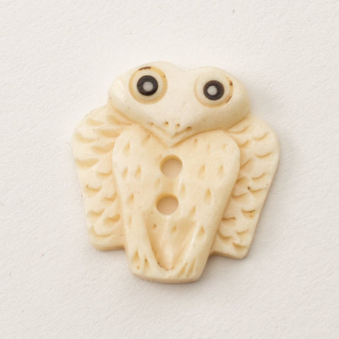 Owl Button - Bone