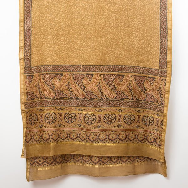 Ajrakh Silk Cotton Shawl - Ochre, Madder & Slate