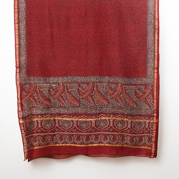 Ajrakh Silk Cotton Shawl - Madder, Indigo & Black